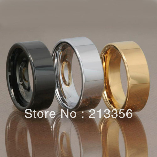 Free Shipping !Cheap Price Promotion Sales! USA Hot Selling Tungsten Ring Mirror Flat Men's Band Choice of Black Gold or Silver