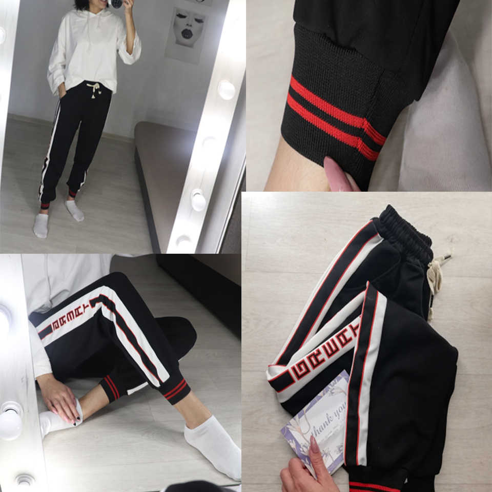BF Style Red Trousers Women 2019 New Autumn Loose Letter Print Pockets Thin Streetwear Cool Girl Fashion Harajuku Hip Hop Pants