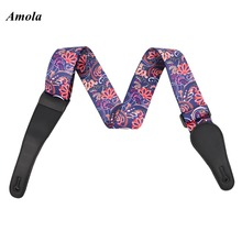 Hot Amola Electric Acoustic  Guitar Straps Printed  PU Leather Ends Colorful Belt  1500-4