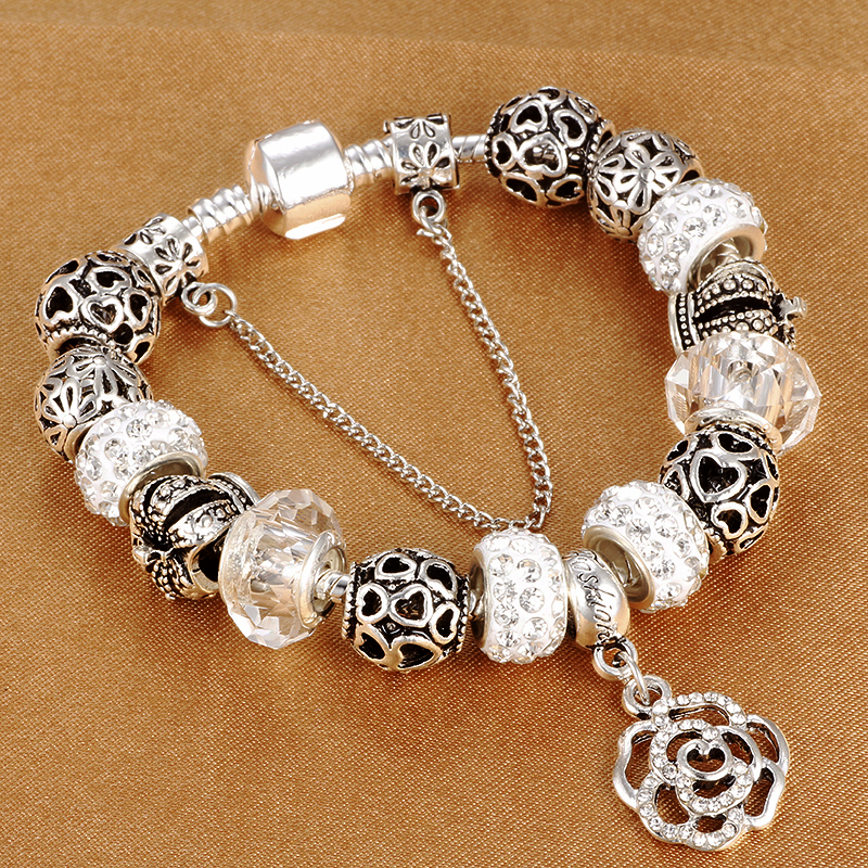 HOMOD Dropshipping Snake Chain Charm Bracelet Con Flower Rose Dangle Charms Pandora Pulsera Para Las Mujeres Diy Regalo de Navidad