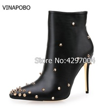 Vinapobo Brand New Designer Shoes Black nude Leather Booties Pointed Toe High Heels Rivet Studded Shoes Spiked Ankle Boots Women fashion brand new women ankle boots famous designer high heels platform shoes woman black leather short chelsea booties women