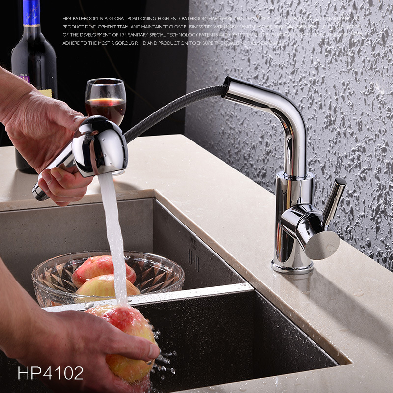 Quality Brass Single Handle Hot Cold Water Mixer Tap Chrome Kitchen Sink Faucet Pull Out Kitchen Tap classic pull out kitchen mixer tap of single handle single hole kitchen faucet with hot cold solid brass kitchen sink water tap