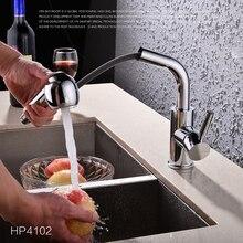Качество Латунь Одной Ручкой Горячей и Холодной Воды Смесителя Chrome Кухня Раковина Кран Pull Out Кухонный Кран