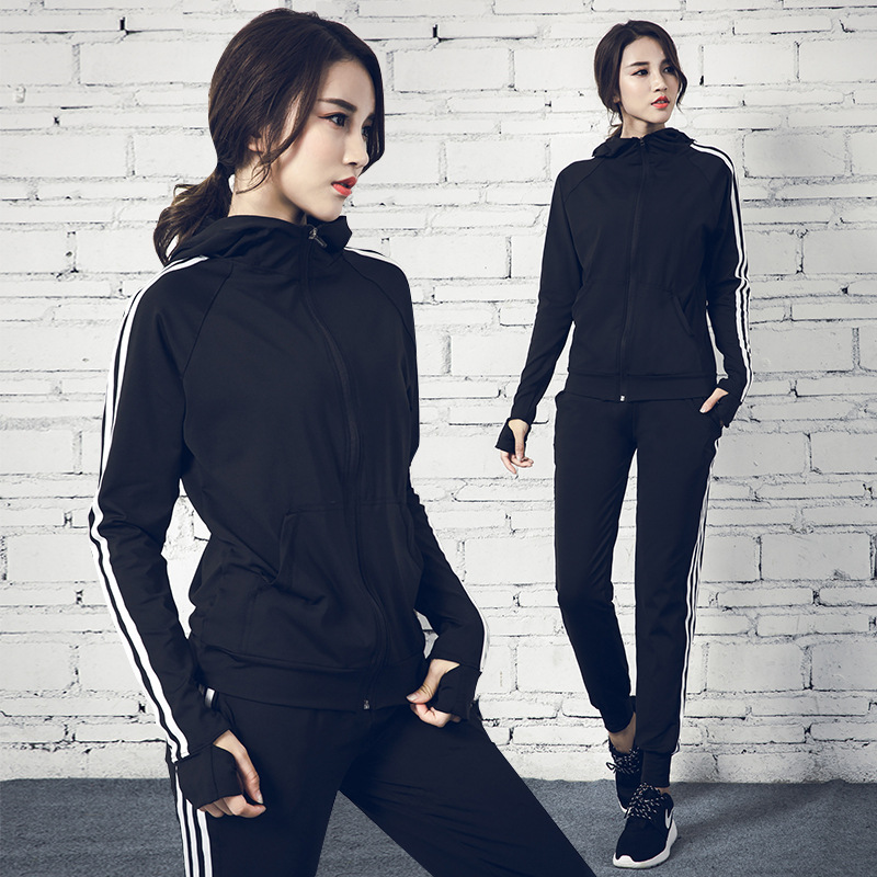 Women Sportswear Tracksuit Loose Zip Up Hooded Jacket Long Yoga Pants Running Jogger Fitness Workout Outfit Yoga Set Sport Suit image