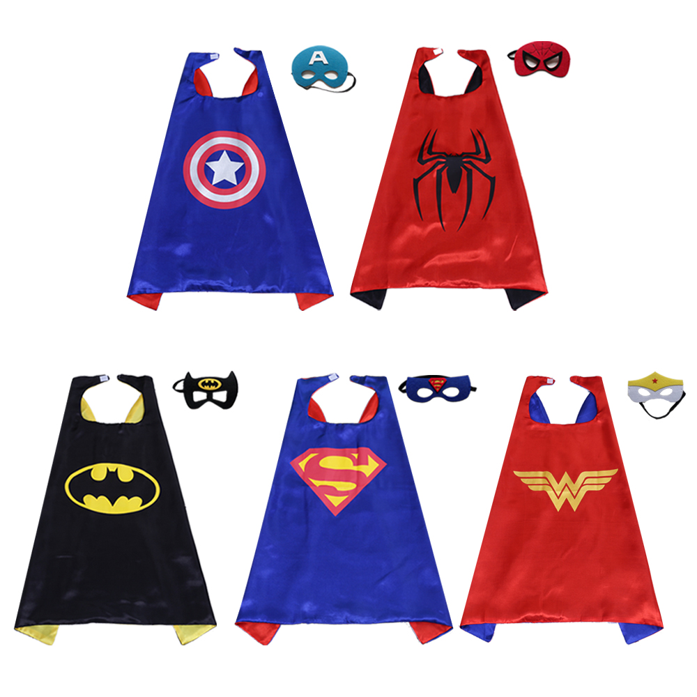 Magiczone 70*70cm Kids cosplay costumes Child superhero capes and mask set Halloween Christmas Party favor gifts 5sets/pack