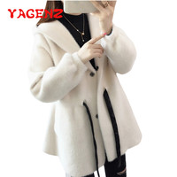 YAGENZ Spring Autumn Knitted Sweater Women Long Coat Hooded Cardigan Sweater Imitation mink cashmere Single breasted Sweater 225