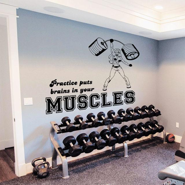 muurstickers quotes sport meisje spieren staaf power gym slaapkamer vinyl decor