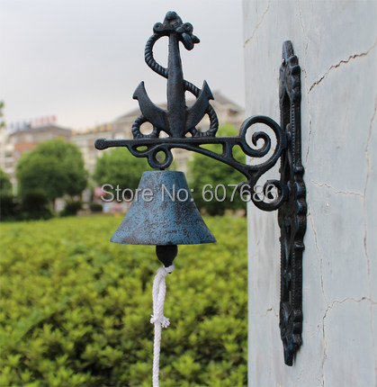 Rusty Cast Iron Ships Anchor Welcome Dinner Bell Hanging Wall Mounted Bell Garden Patio Nautical Seashore Sea Decor Free Ship