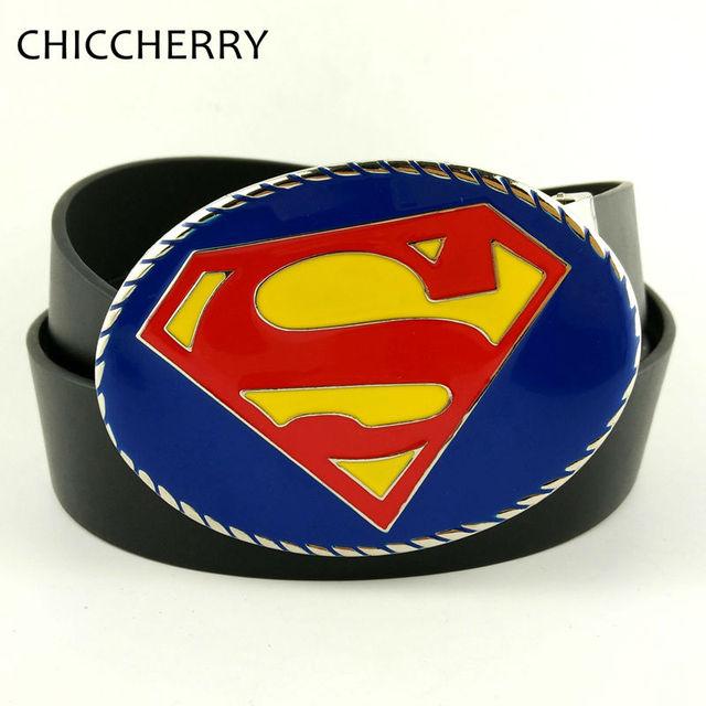Moda PU Cintos de Couro Azul dos homens de Super-heróis Superman Fivelas de Cinto de Cowboy Fivela de Metal Grande Boucle Ceinture Cintos Masculinos