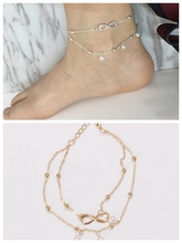 Popular Summer Gold/silver Layered Chain Infinite Charm Anklets Wholesale for Women Ankle Bracelets Ojo Turco