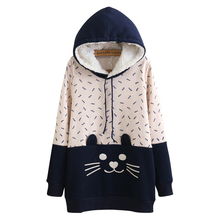 New Fahion Patchwork Cat Kawaii Hooded Coat Jacket Japanese Cute Japanese Mori Girl Outerwear Latest Cute Cat Tail Face Hoodies