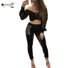 New Design Off Shoulder Mesh Stitching Women Tops With Skinny Leggings Summer Outfits Women Rompers Women Suits