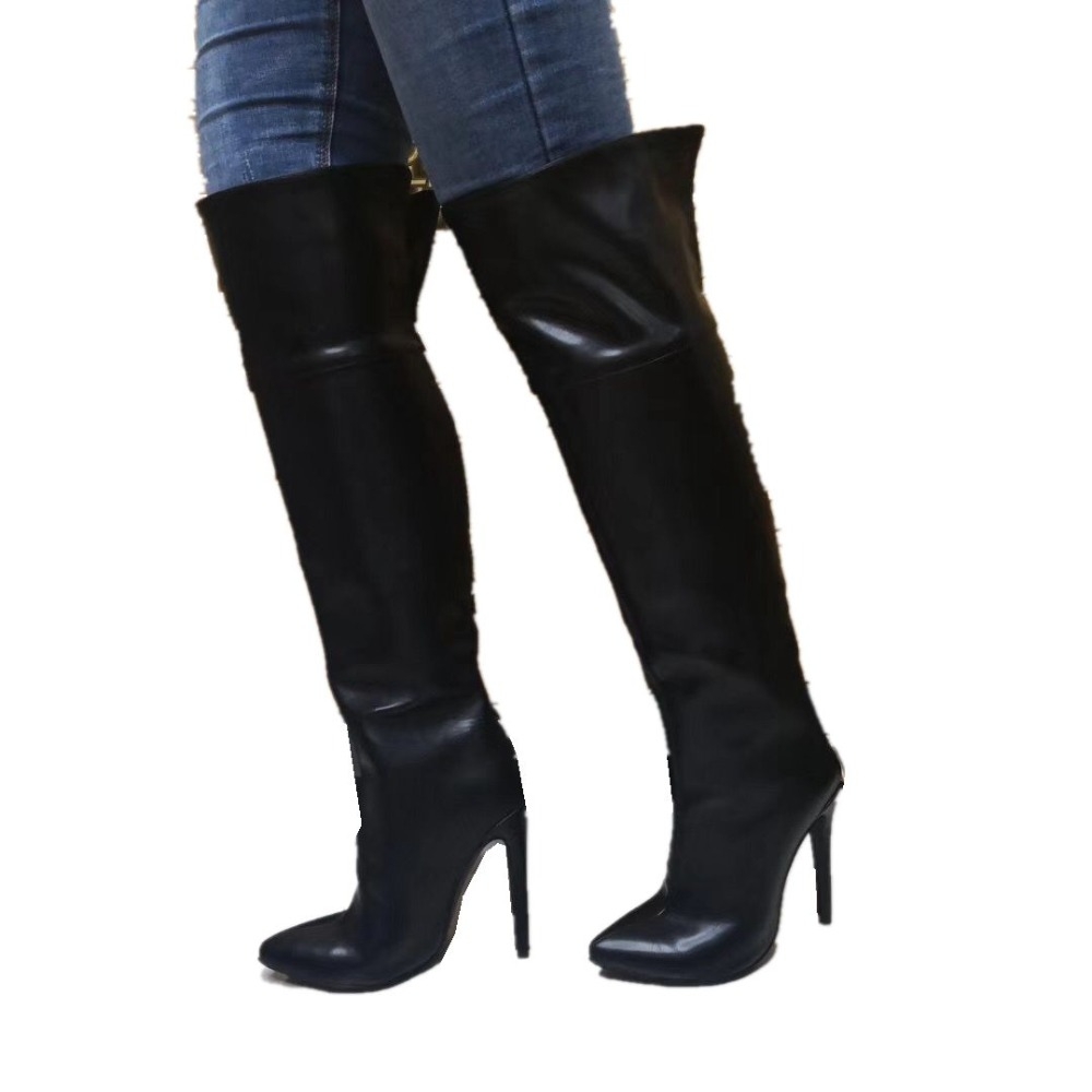 Sorbern Black Over Knee Length Boots For Women PU HIgh Heels Pointed Toe Night Club Boots Party Boots Botines Mujer 2019Sorbern Black Over Knee Length Boots For Women PU HIgh Heels Pointed Toe Night Club Boots Party Boots Botines Mujer 2019