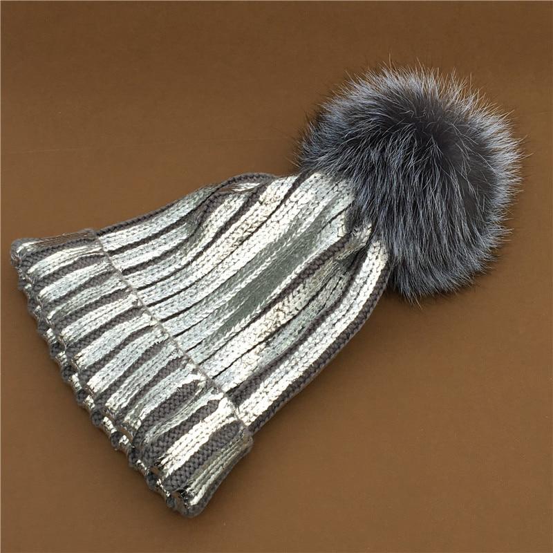 2018 Winter Metallic Big Ball   Beanie   Hat for Women Fluffy Real Fur Pom Pom knitted   Skullies     Beanie   with 15 cm Big pompom hats