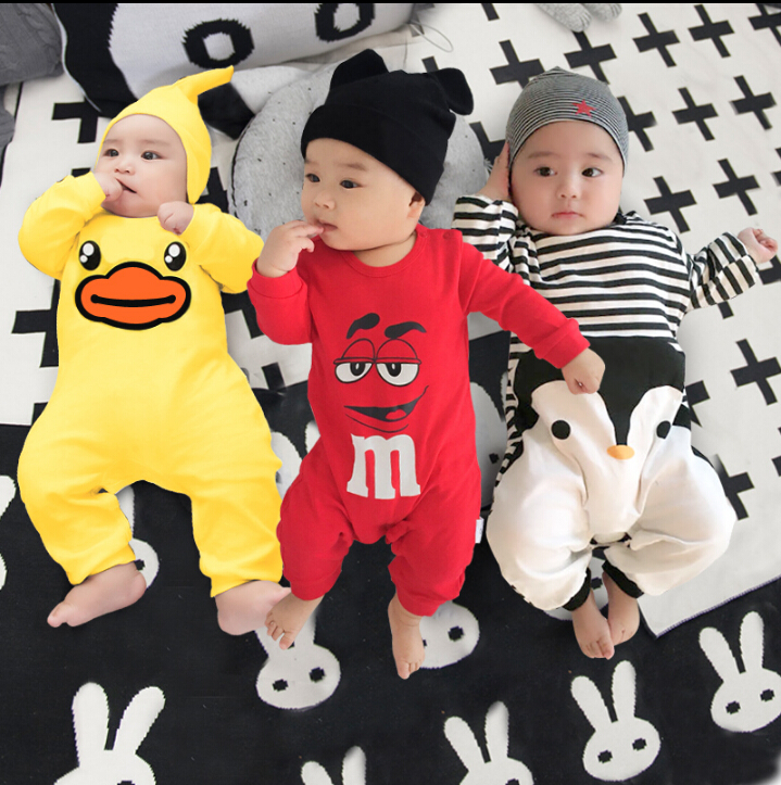 2017 baby autumn spring cotton cartoon Penguin style boy clothes newborn baby girl clothing infant  jumpsuit for baby clothes newborn baby boy girl 5 pcs clothing set cotton cartoon monk tops pants bib hats infant clothes 0 3 months hight quality