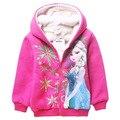 Dibujos animados muchachas de la nieve de la reina niñas chaqueta de invierno traje para la nieve Elsa abrigo de invierno los niños de terciopelo de Coral Outwear para 4-12y