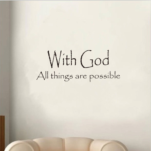 New Fashion Vinyl With God All Things Are Possible Quote Wall