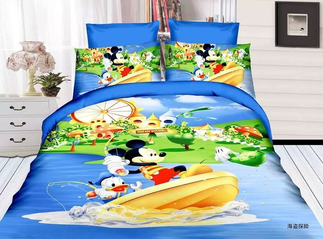 Blue Green Mickey Mouse Bedding Sets Childrenu0027s Boys Bedroom Decor Single  Twin Size Bed Sheets Quilt