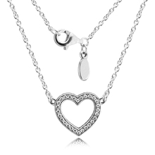 Pandulaso Necklaces 925 Sterling Silver Loving Hearts Clear CZ Necklaces Pendants for Women Fine Jewelry Free Shipping