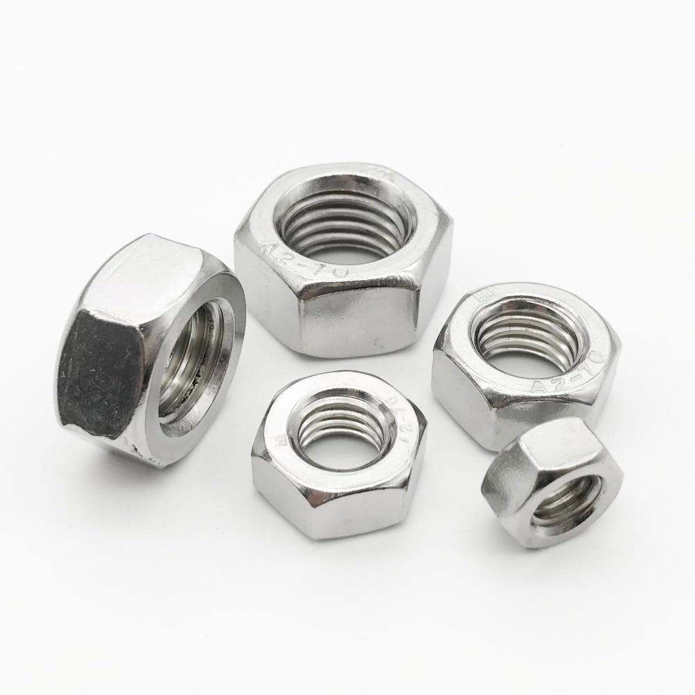Screws 1-50pcs Thin Hex Nuts Screw 304 Stainless Steel M3 M4 M5 M6 M8 M10 M12 M14 M16 M18 M20 DIN439 Size : M16 2pcs Nuts Nails