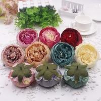 10 kunstmatige bloemhoofdjes 9 cm zijde pioen bloemen decoratie voor DIY ambachten bruidstaart top bloemen