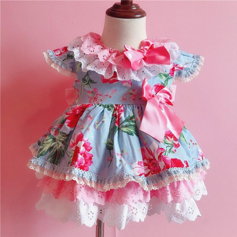 2019 été Style espagnol filles fleur imprimer robe enfants Boutique princesse coton robe bébé mignon fête d'anniversaire robes G022
