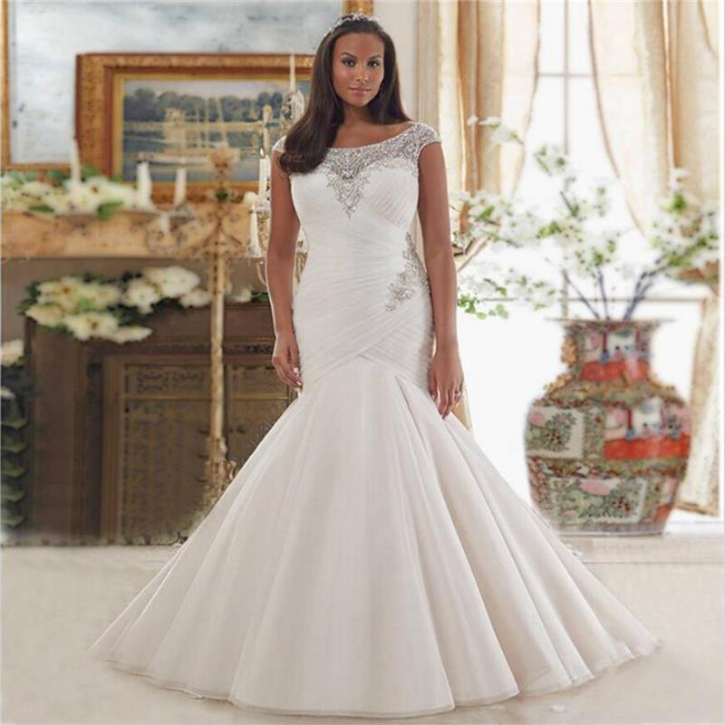 Sexy african mermaid bridal gowns with cap sleeves luxury for Plus size country western wedding dresses