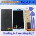Alta Qualidade Novo Display LCD + Digitador do Toque de Vidro Da Tela assembléia para huawei p7 celular 5.0 polegada 1920*1080 preto branco ferramenta