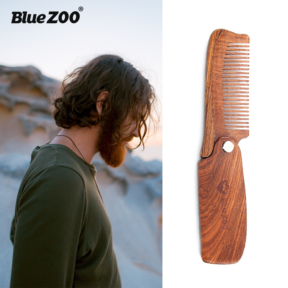 1pcs Beard Comb New Wooden Hair Brush Folding Pocket Size Moustache Hai