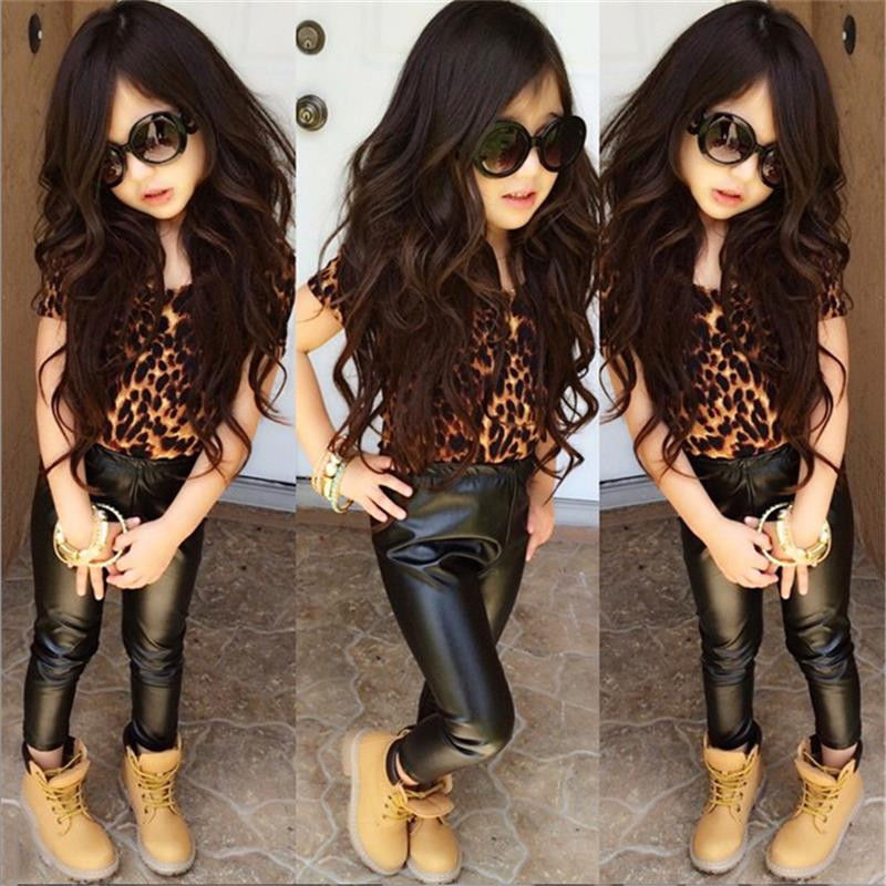 E Girl Fashion: T Shirt Tops Leopard + Leather Pants Summer Fashion Girl