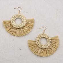 Handmade Straw Rattan Earrings for Women Vintage Tassel Raffia Earring Trendy Round Big Statement Earing Wood Jewelry 2019 цена