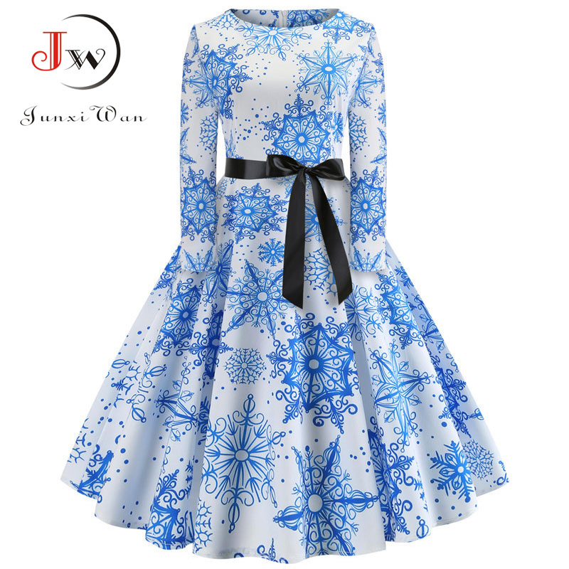 Women Elegant Christmas Dress Long Sleeve Print Vintage Belt Party Dress Snowflake White Autumn Winter Bodycon Dresses Vestidos