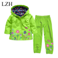 LZH 2016 Children Raincoat Suit (Hoodie+Pants) Girls Clothes Set Flower Printing Hooded Jacket Boys Clothing Sets Kids Clothes