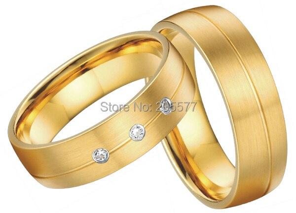 все цены на 2017 gold plating ring European style custom health titanium engagement wedding bands for men and women couples онлайн