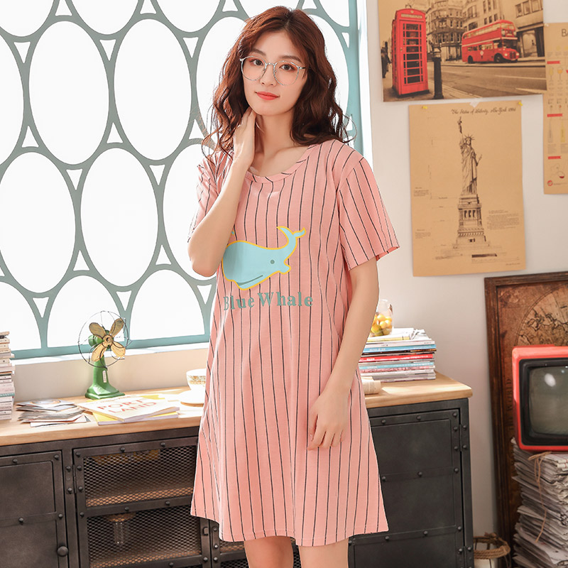 2019 new Women Sexy Striped print   Nightgowns   Female Summer   Sleepshirts   Loose Nightdress Knitted cotton Sleepwear