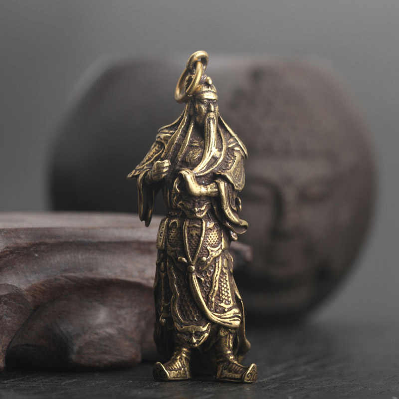 Copper Guan Gong Statue Keychain Pendants Chinese God of Wealth Handmade Vintage Pure Brass lucky Key Chiains Car Bag Key Rings