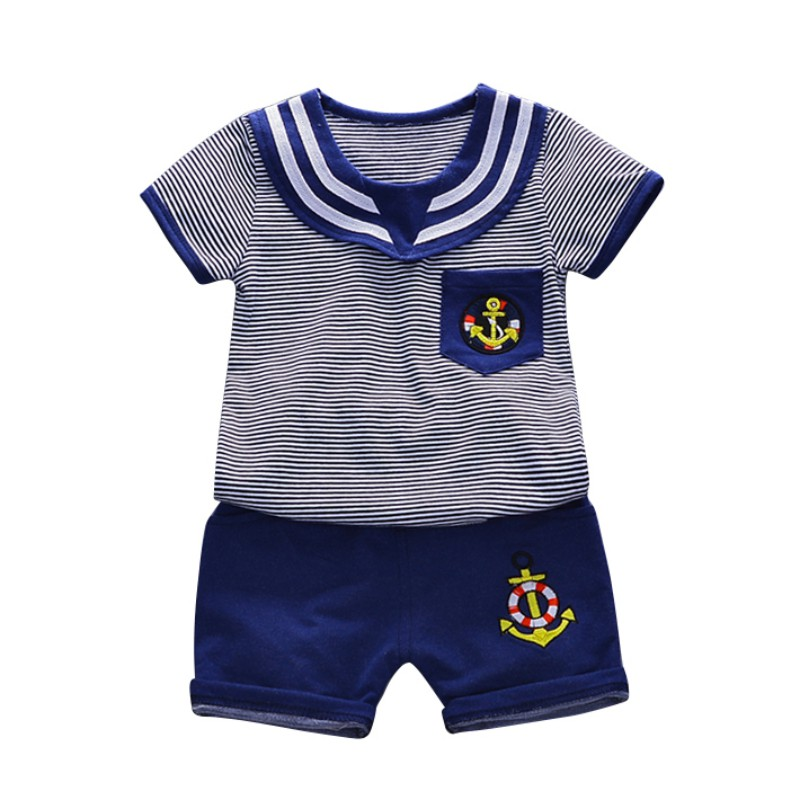 T shirt Navy Wind Baby Boy Clothes Set Fashion Navy Wind Stripe T shirt Shorts Baby Clothes Summer Boy T shirt in Clothing Sets from Mother Kids