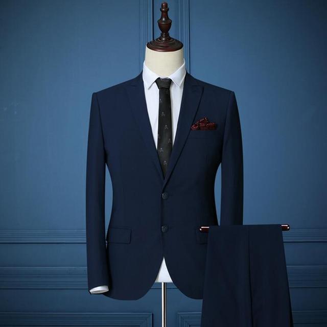 09d0c84bf0c3 2016 New Dark Blue Tailor Made Men Suit Bespoke Light Navy Blue Wedding  Suits For Men Slim Fit Groom Tuxedos tuxedo jacket men