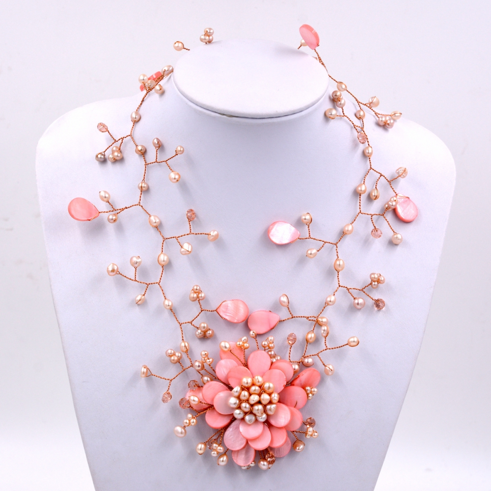 2017 Trendy fashion Peach pink shell and pink freshwater pearl woven flower necklace For Women Fashion Jewelry Party Gift