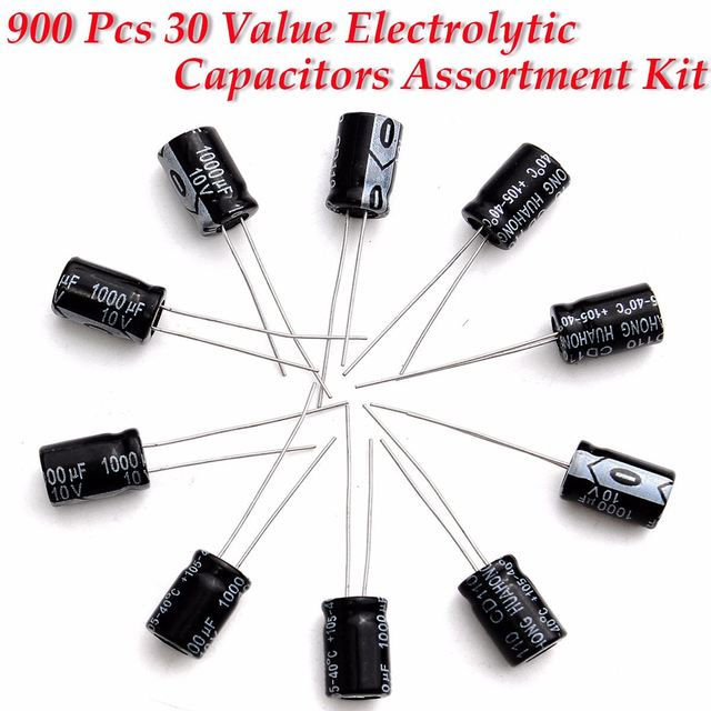 1set of 900pcs 30values  Aluminum Assortment Kit Set Pack Electrolytic Capacitor Assortment Box Kit KIT0154