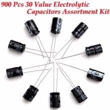 Kit de surtido de aluminio de 30 valores, Kit de caja de surtido de condensador electrolítico KIT0154, 1 Juego de 900 Uds.