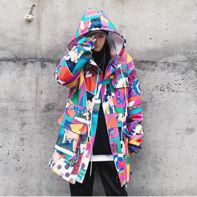 Long Trench Coat Men Streetwear Geisha Printed Hooded High Street Clothing