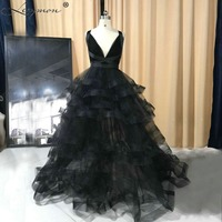 New Real Samples Classic Black Long Tulle Sexy V Neck Evening Dresses 2018 Criss Cross Party Gown Elegant Dress