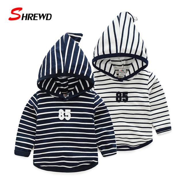 Sudaderas Infantil Chicos ropa de Otoño Nueva Moda de Rayas Simples Ocasionales de Los Hoodies 2016 de Manga Larga Bebé Ropa 4193Z