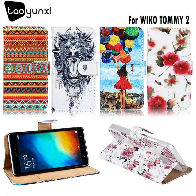 TAOYUNXI Stand Flip Case For Wiko Tommy 2 Case Housing For Wiko Tommy2 Cover PU leather Coque DIY Paint Flower Cloud Bags 5.0