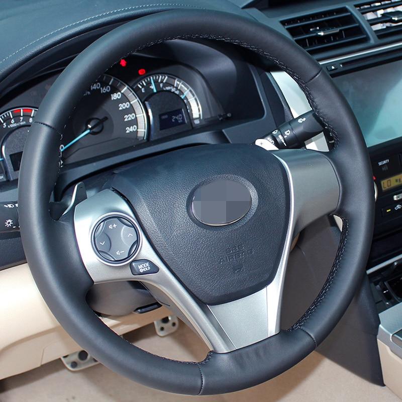 Cubierta de volante cosida a mano DIY de cuero artificial negro - Accesorios de interior de coche