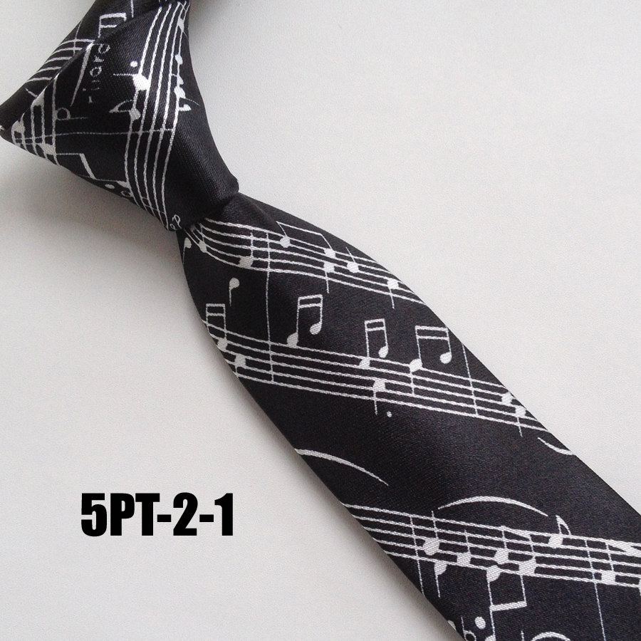 5cm Popular Men Casual Narrow Ties Fashion Printed Necktie Black With White Music Notes Score