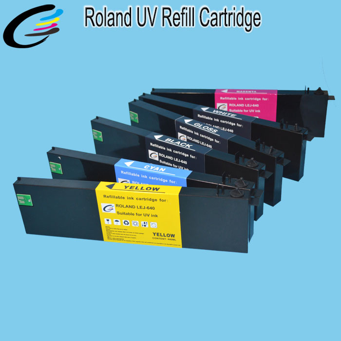 Eco UV Refillable Ink Cartridge for Roland Versa UV LEJ 640 with Permanent Chip + 500ML LED UV Ink / Color