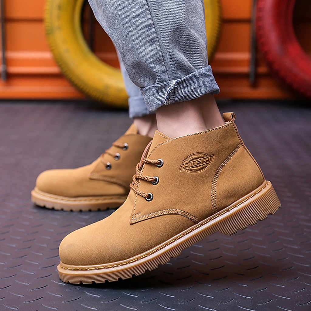 2019 Hot Men Boots Solid Color Scrub Men shoes Autumn Leather Footwear For Man New High Top Leather Casual Shoes Men