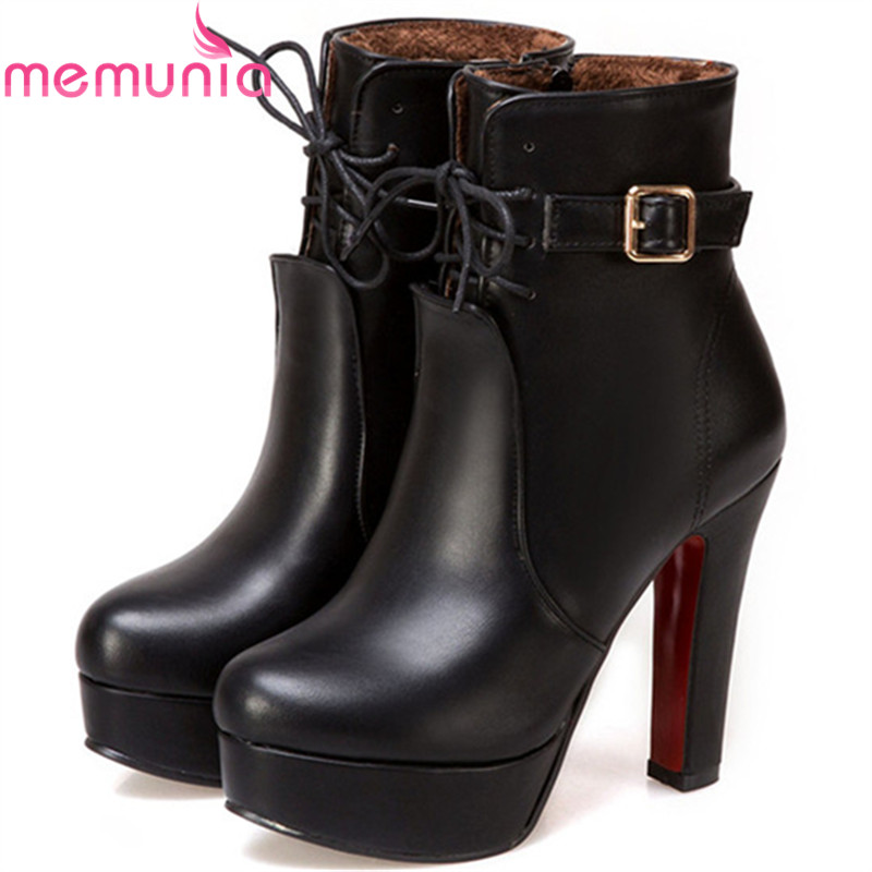 MEMUNIA Ankle boots sexy lady high heels shoes in spring autumn boots female PU soft leather fashion boots platform size 34-43 hot sale big size 32 44 fashion spring autumn women shoes sexy solid pu leather platform ankle strap high heels augz 958